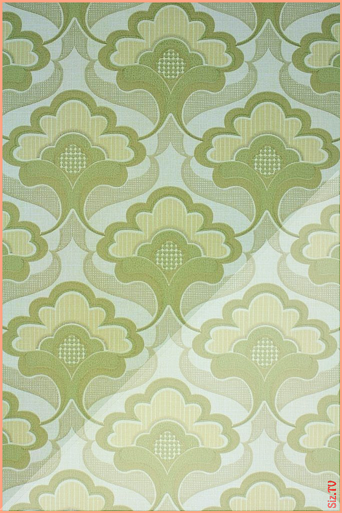 1970s Geometric wallpaper with typical 70s geometric pattern in shades of green A funky wallpaper pa...