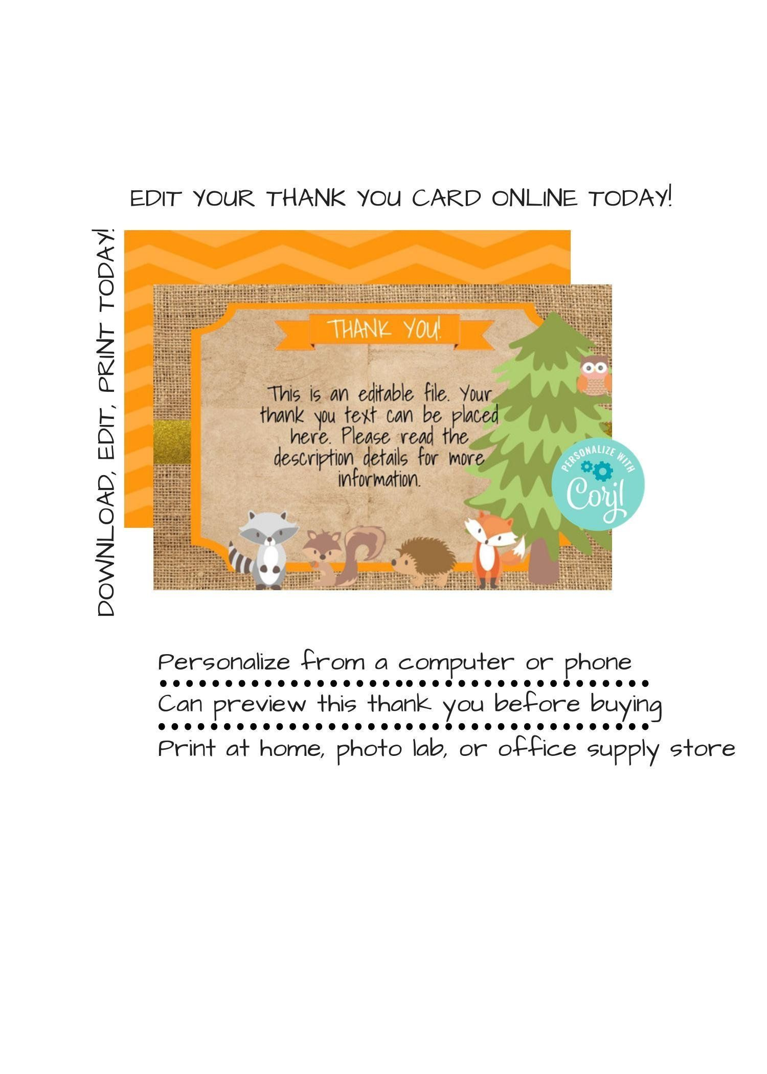 Instant Download Woodland Thank You Woodland Thank You Note Rustic