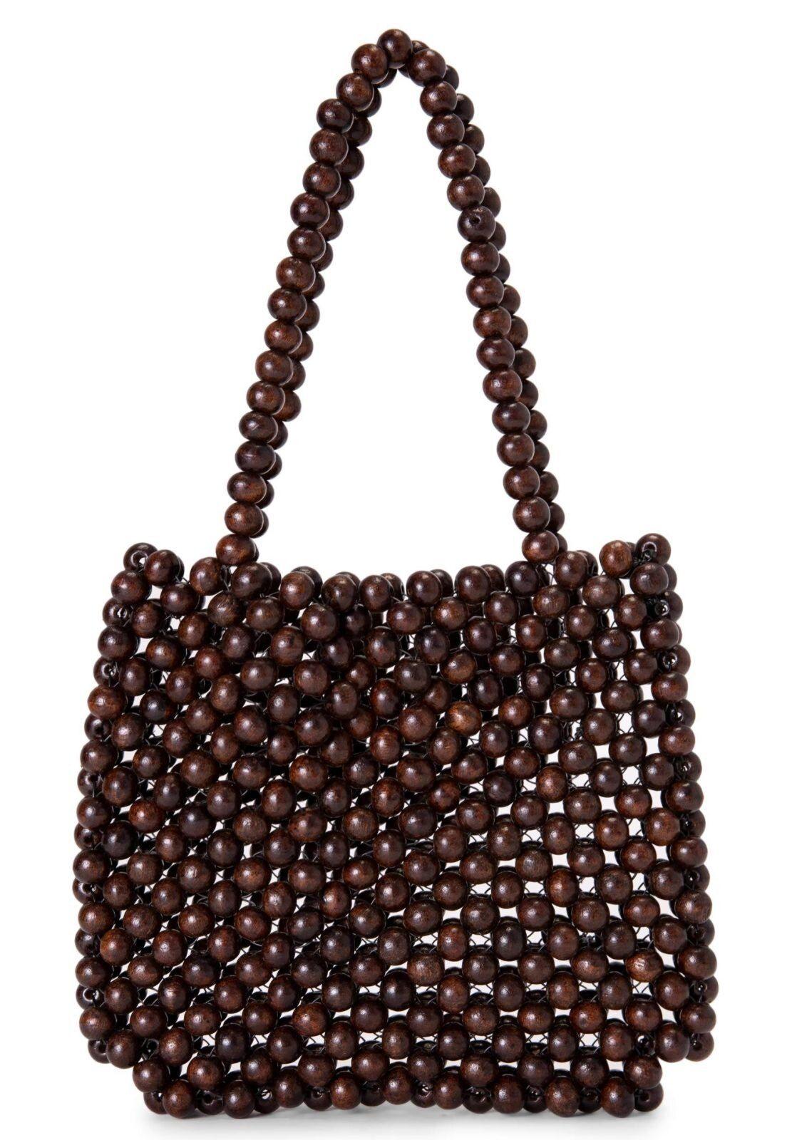 Bolsa AMARO Pequena Beads Marrom – Boda fotos