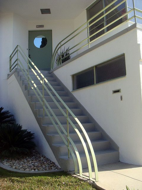 painted metal stair rail - historic skinner house in LA