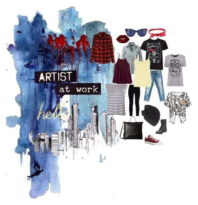 """""""Artist at work"""" by izimaher on Polyvore featuring Sans Souci, LE3NO, Linda Farrow, Converse, T By Alexander Wang, Laundromat, STELLA McCARTNEY, Dorothy Perkins, Charlotte Russe and Lime Crime"""