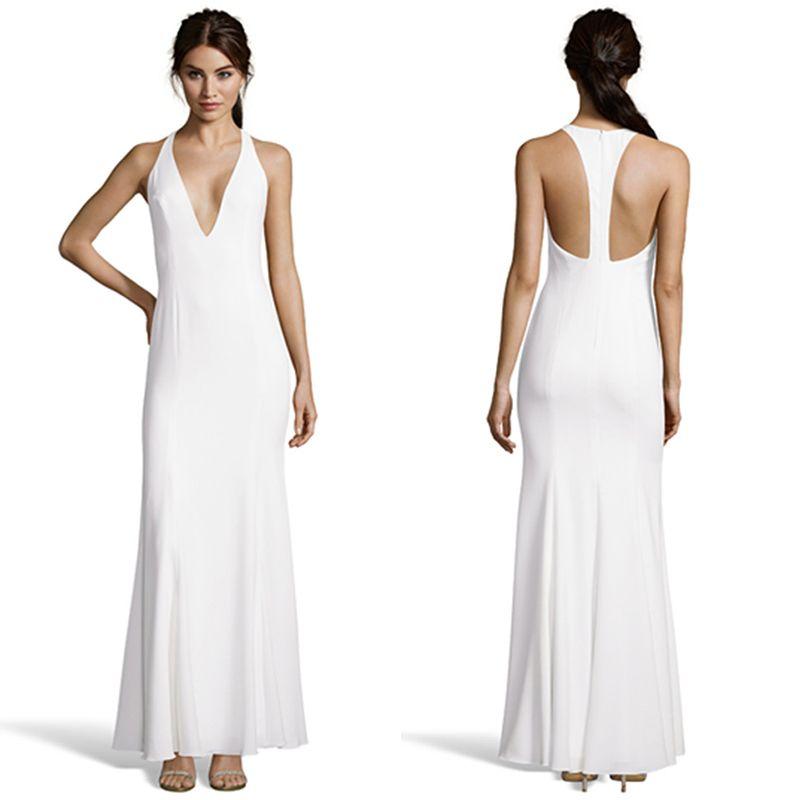 Neue Ankunft Weiß Abendkleider Halfter A-Line Satin Sexy Prom ...