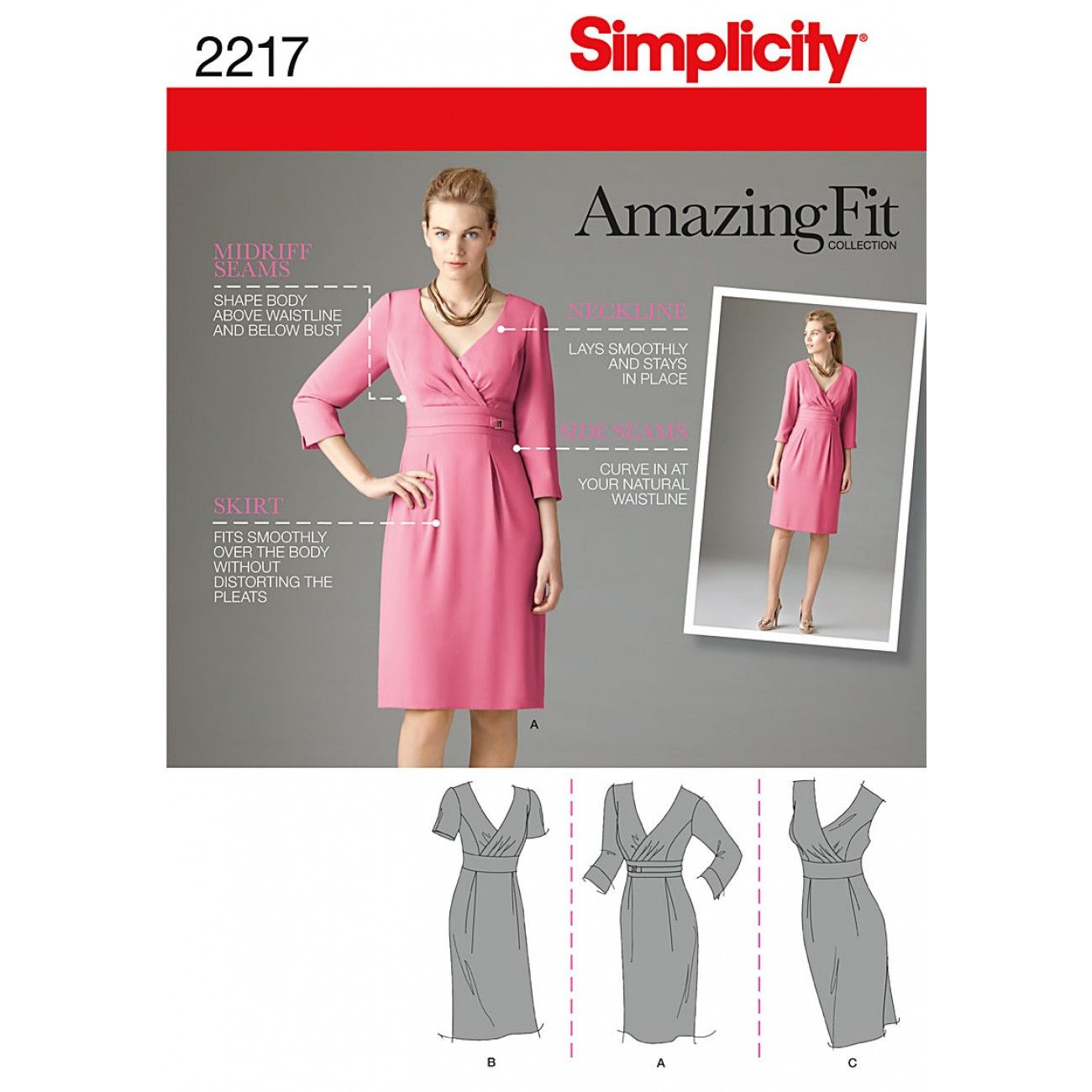 Simplicity pattern patterns fabric patterns shop online simplicity 2217 misses amazing fit dresses misses amazing fit dress with individual pattern pieces for slim average and curvy fit and a b c jeuxipadfo Gallery