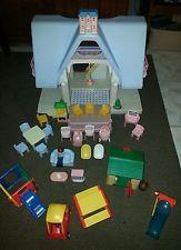 Vintage Little Tikes Dollhouse Blue Roof Huge Lot Rare Accessories