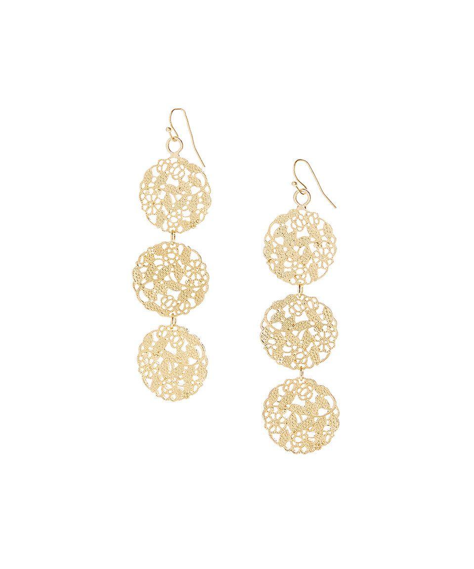 Gold Triple Fl Filigree Drop Earrings By Stella Ruby Zulily Zulilyfinds