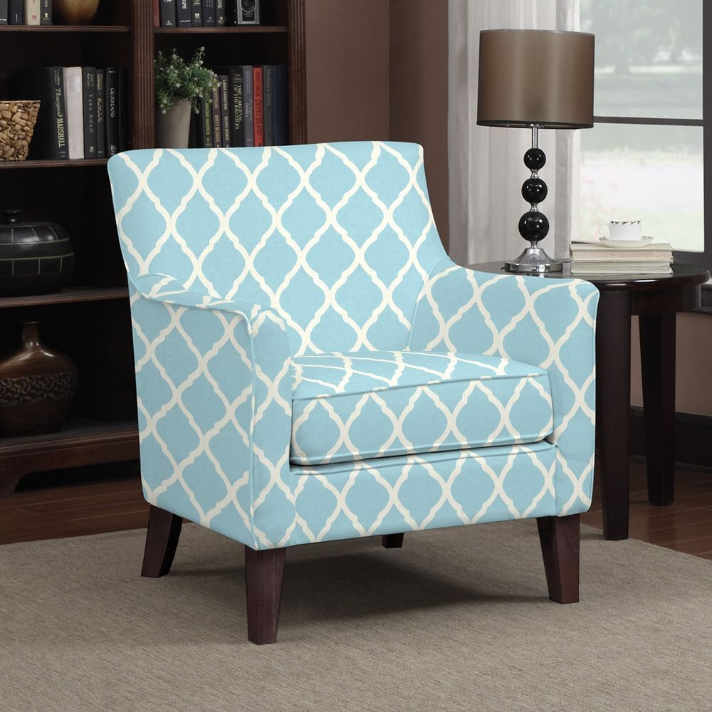 Turquoise Living Room Chair Details About Transitional Arm Chair Accent Turquoise Blue Trellis