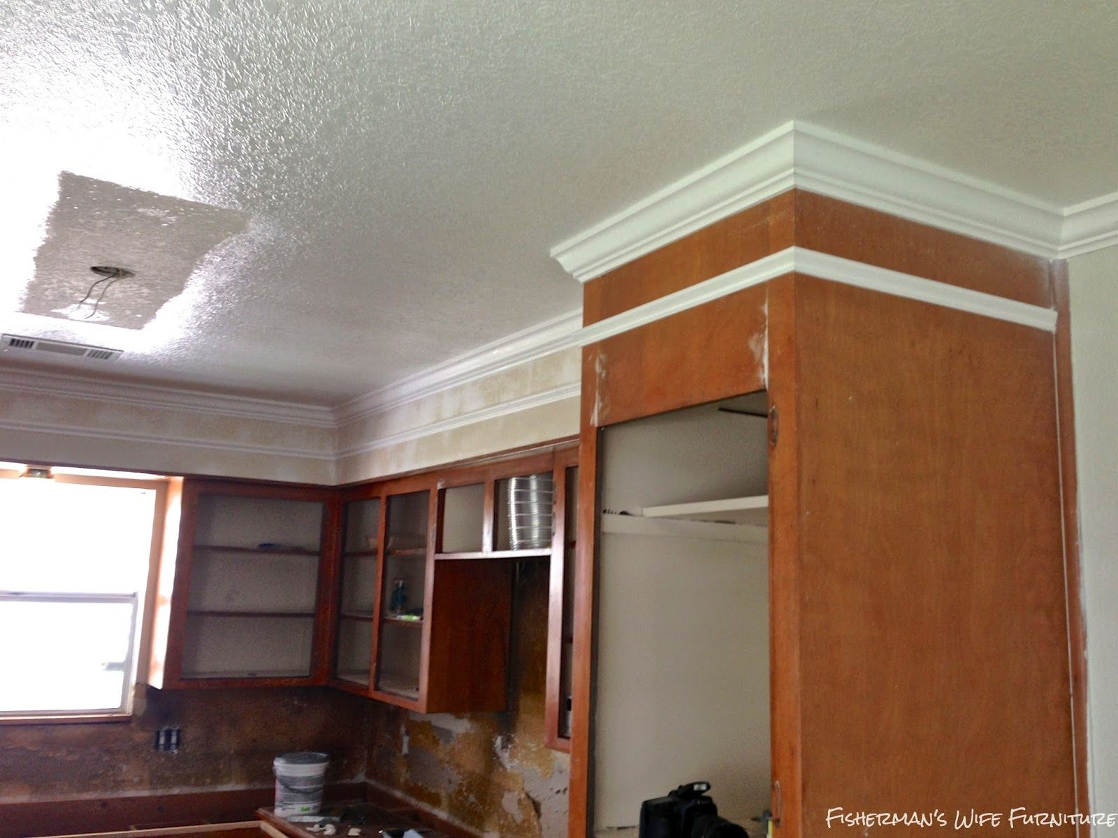 Covering Fur Down The Space Above The Cabinets Kitchen Soffit Kitchen Cabinet Crown Molding Crown Moulding Kitchen Cabinets