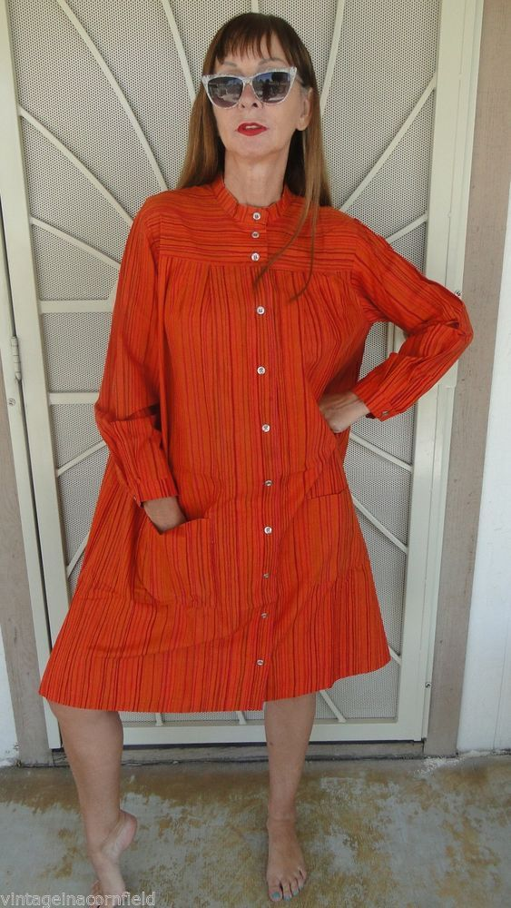 VINTAGE 70S MARIMEKKO DRESS DATED 1976 SZ MEDIUM MOD COTTON GREAT PRINT NR #MARIMEKKO