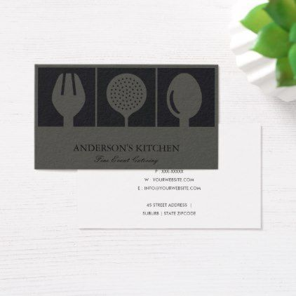 Minimal elegant grey black skimmer spoon fork chef business card minimal elegant grey black skimmer spoon fork chef business card black gifts unique cool diy reheart Image collections