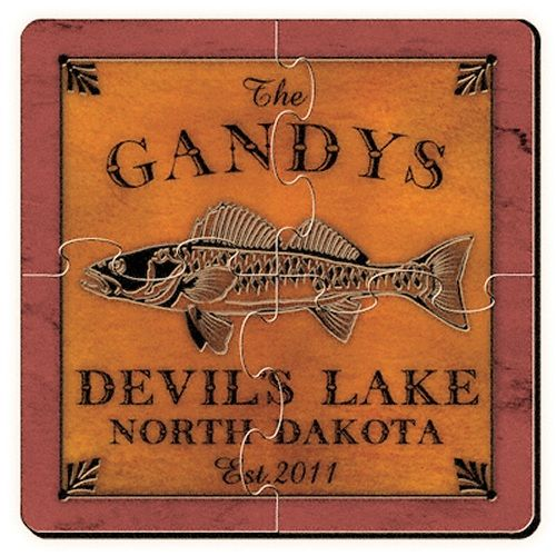 Walleye Cabin Series Personalized Puzzle Coasters Add Some Whimsy To Your Summer Getaway With Personalized Coaster Set Personalized Coasters Monogram Coasters