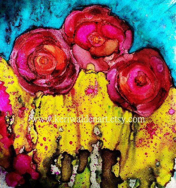 Roses Art Print, Alcohol Ink Art, Abstract Art, Abstract, Roses ...