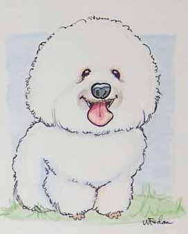 Caricature Of Bichon Frise By Wendy Fedan Bichon Frise Bichon Frise Drawing Dog Caricature