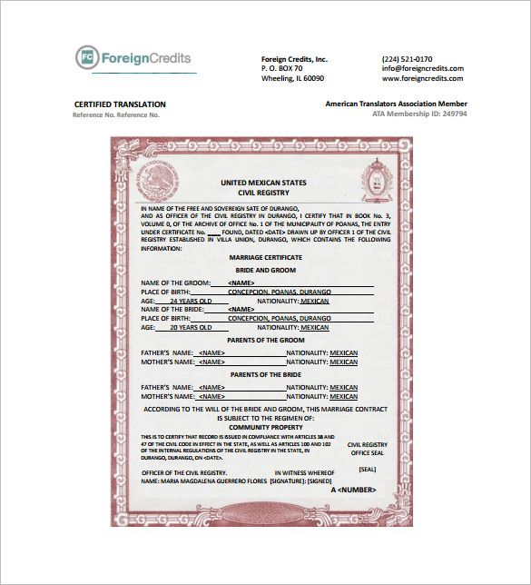 marriage certificate translation template pdf mexico birth lorenia - marriage contract template