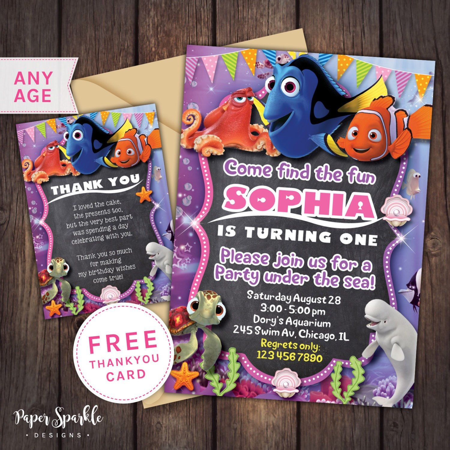 NEW Finding Dory invitation! Choose girl or boy colour theme. We ...
