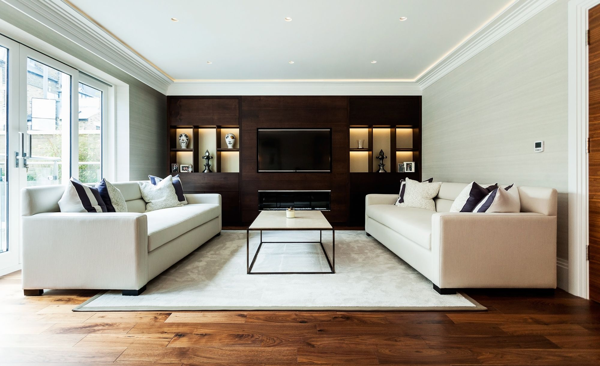 Loft bedroom with walk in wardrobe  Contemporary Interior design wooden buildin furniture build in TV