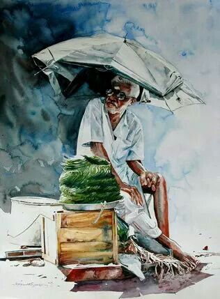 Water Color Artist Raj Kumar Sthapathi Auroville India