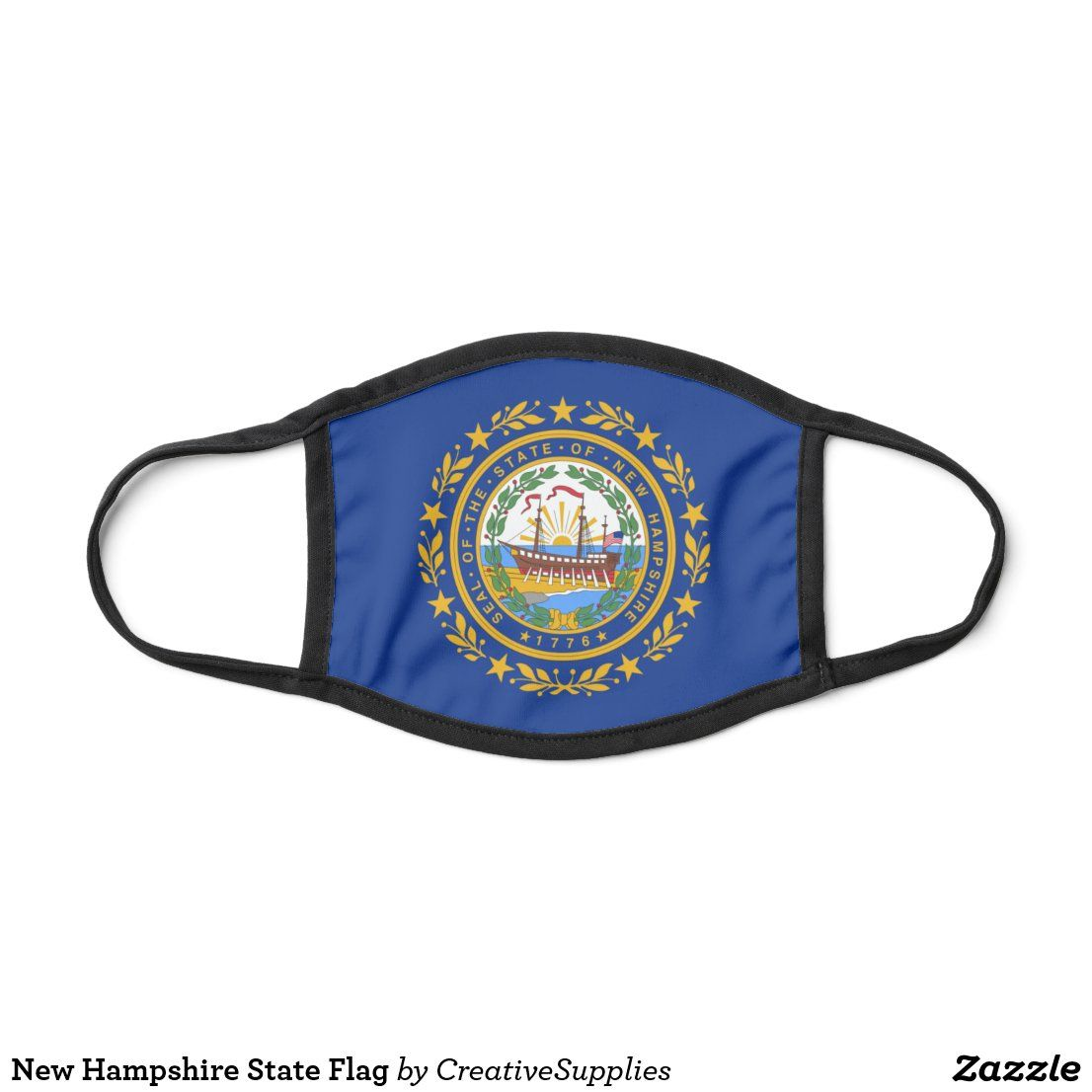 New Hampshire State Flag Face Mask Zazzle Com In 2020 Face Mask Flag Face State Flags