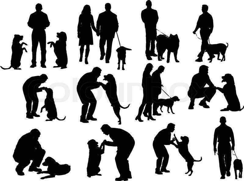 Menschen Silhouetten Mit Hund Stock Vektor Colourbox Mensch Silhouette Hunde Silhouette Silhouette