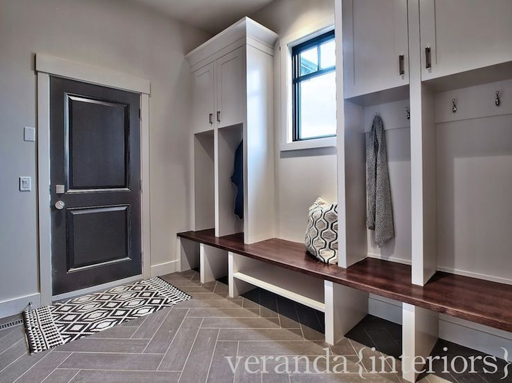 Clean Modern Mudroom Gray Herringbone Tile Mud Room Storage Veranda Interiors Room Storage Diy
