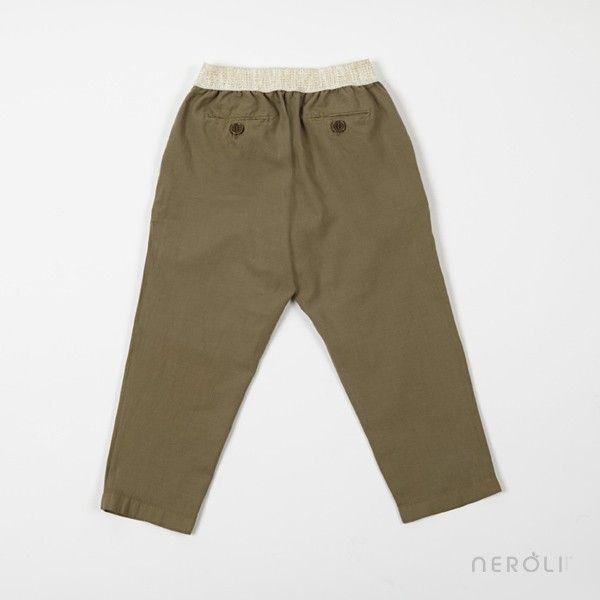 Pantalón largo kaki con cintura lúrex para niña de Hartford. #girl #trousers #fashion #NeroliByNagore #SS14 #hartford