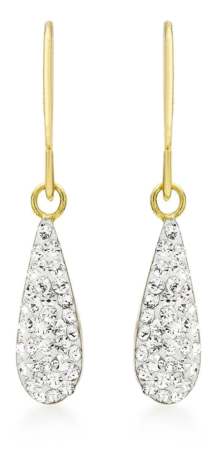Carissima Gold Women's 9 ct Yellow Gold Crystalique Teardrop Earrings wwK5bg