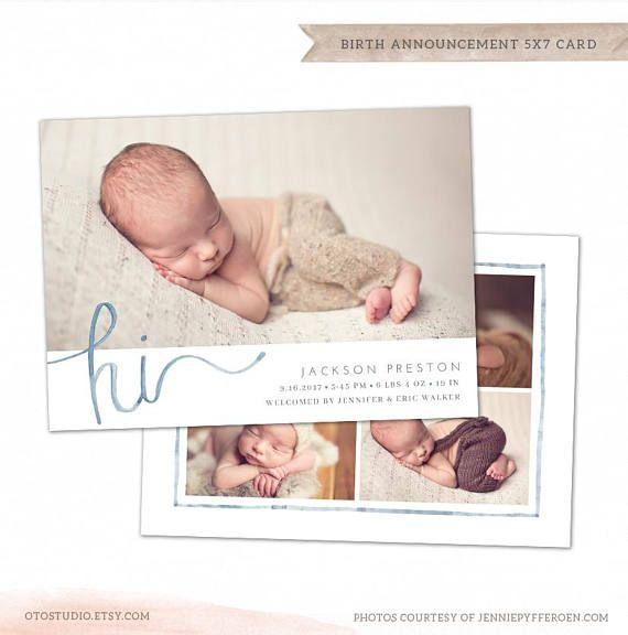 Birth Announcement Template Baby Newborn Card Photoshop Etsy In 2021 Birth Announcement Template Birth Announcement New Baby Products
