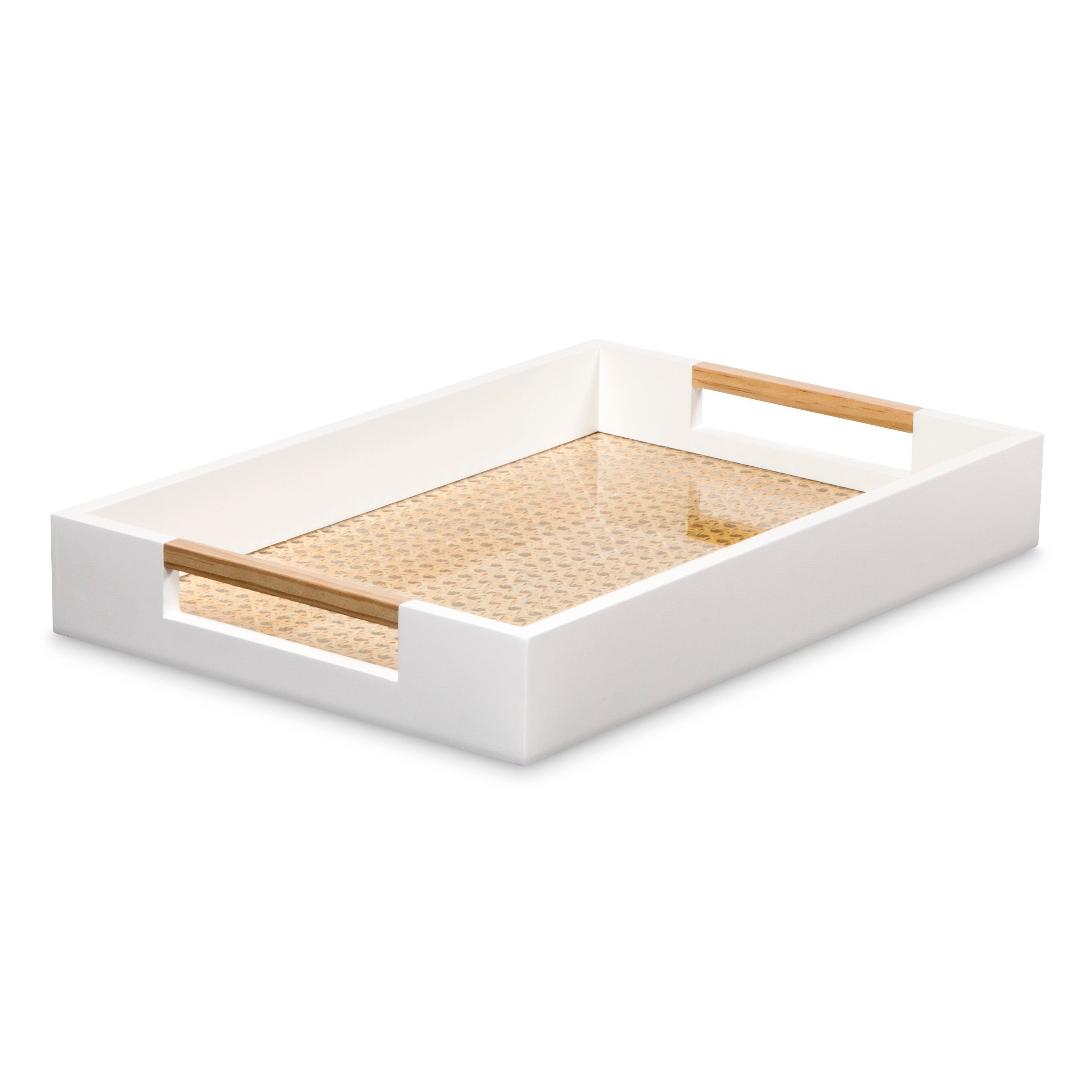 White Decorative Tray Threshold™ Decorative Tray With Cane Detail  White  Target  Bed