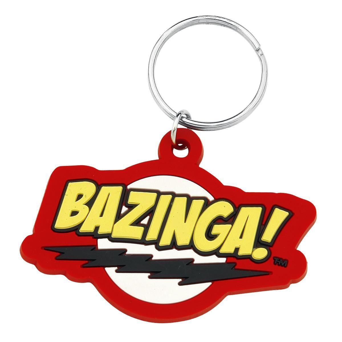 Portachiavi #TheBigBangTheory con logo Bazinga in gomma. Dimensioni: 6 x 4,5 cm circa.