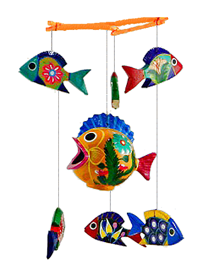 Wooden fish mobiles love these in my backyard painted for Mobili wooden art