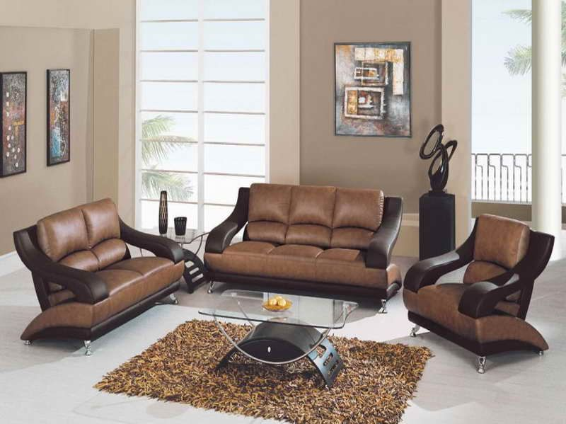wall paint for brown furniture. glamour open floor living room design with cream wall paint color and brown leather sofa cool glass top coffee table also yellow carpet area for furniture a