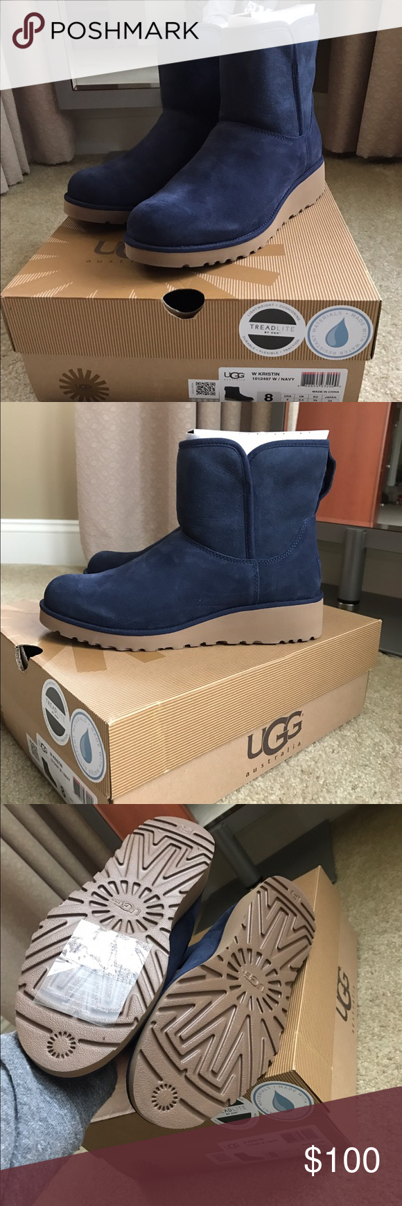Women's Uggs. Navy. Kristin. Box includes New navy Uggs. Size 8 UGG Shoes Winter & Rain Boots