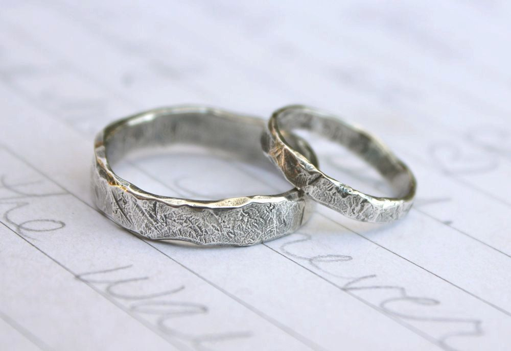 unique engagement wedding ring sets recycled silver wedding band