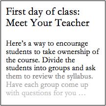 First day of class: Meet Your Teacher | Work | Teaching college