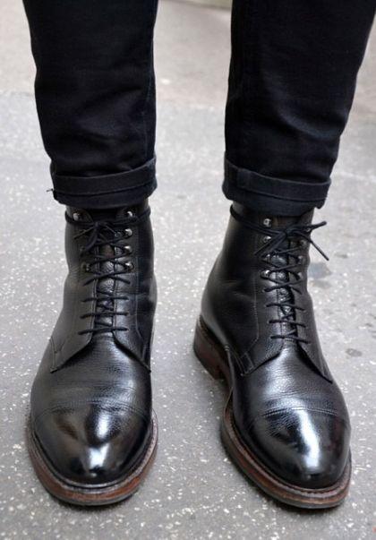 Black Leather Boots Mens Fashion Boots Shoes Mens Fashion