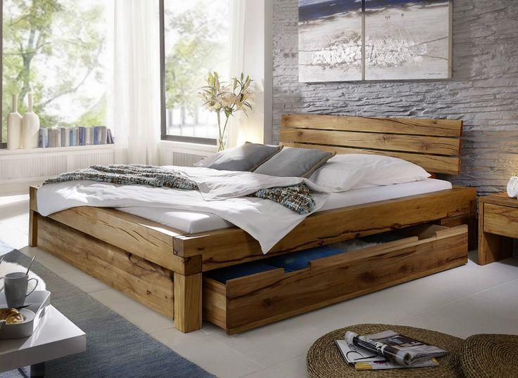 Balkenbett Bett Doppelbett 180x200cm Wildeiche Eiche Holz