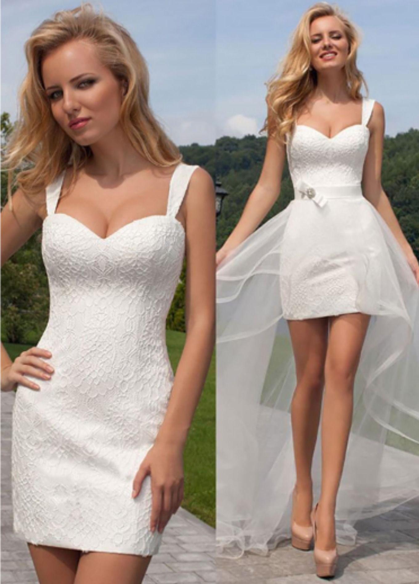 Simple Short Beach Wedding Dress With Detachable Skirt Simple Wedding Dress Short Simple Wedding Dress Beach Short Wedding Dress Beach [ 1897 x 1360 Pixel ]