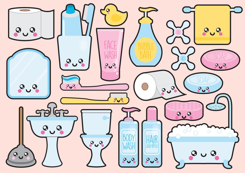 Photos On Premium Vector Clipart Kawaii Bathroom by LookLookPrettyPaper