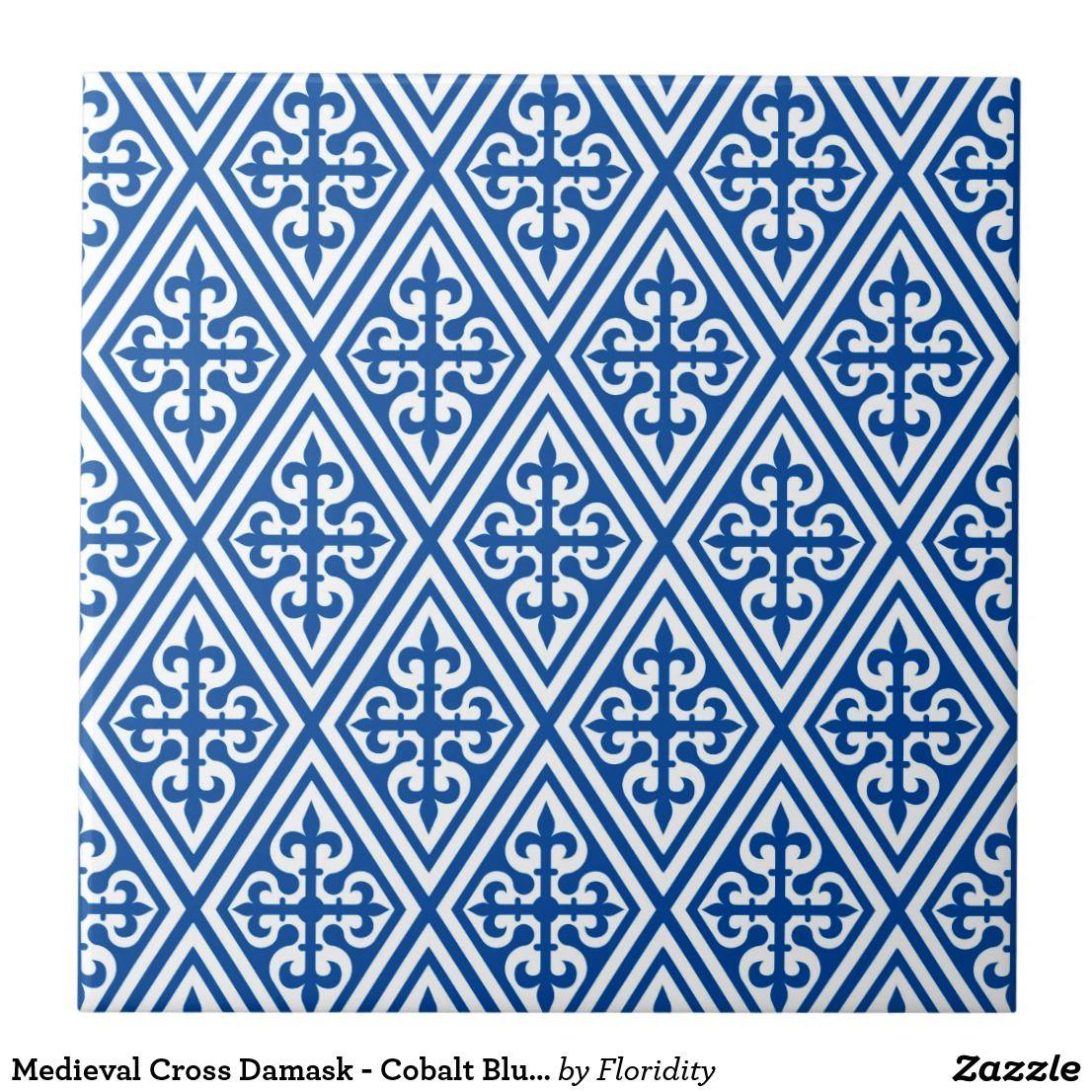 Mediaeval Cross Damask - Cobalt Blue and White Tile | Pinterest ...