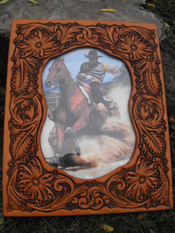 Leatherpictureframes Hand Tooled Leather Western Picture Frame