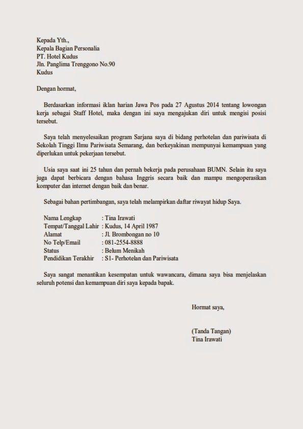 Contoh Surat Lamaran Kerja Di Hotel Contoh Lamaran Kerja Dan Cv