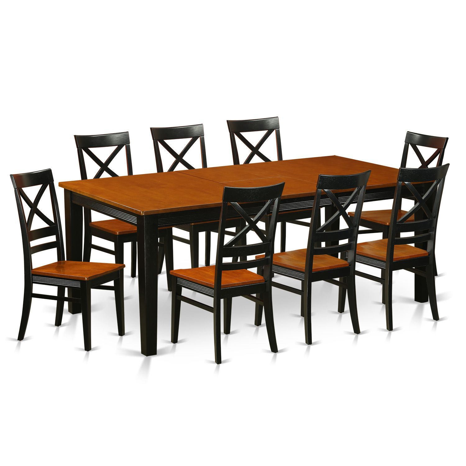 Black brown cherry finish rubberwood dining table with 8 dining chairs black and