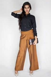 Brown Palazzos Pants by Pilgrim, Go bold with your palazzo pants.
