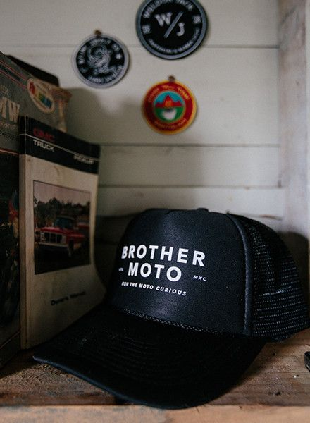 a8b627edaf52a Moto Curious - Black Trucker hat - Motorcycle lifestyle goods Brother Moto  Available at brothermoto.com