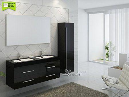 Meuble De Salle De Bain Double Vasques Coloris Noir Brillant Ref B 1390 N Miroir Vasuqe Meuble Sous Vasque Colonne Amazon Fr Furniture Home Bathroom Mirror