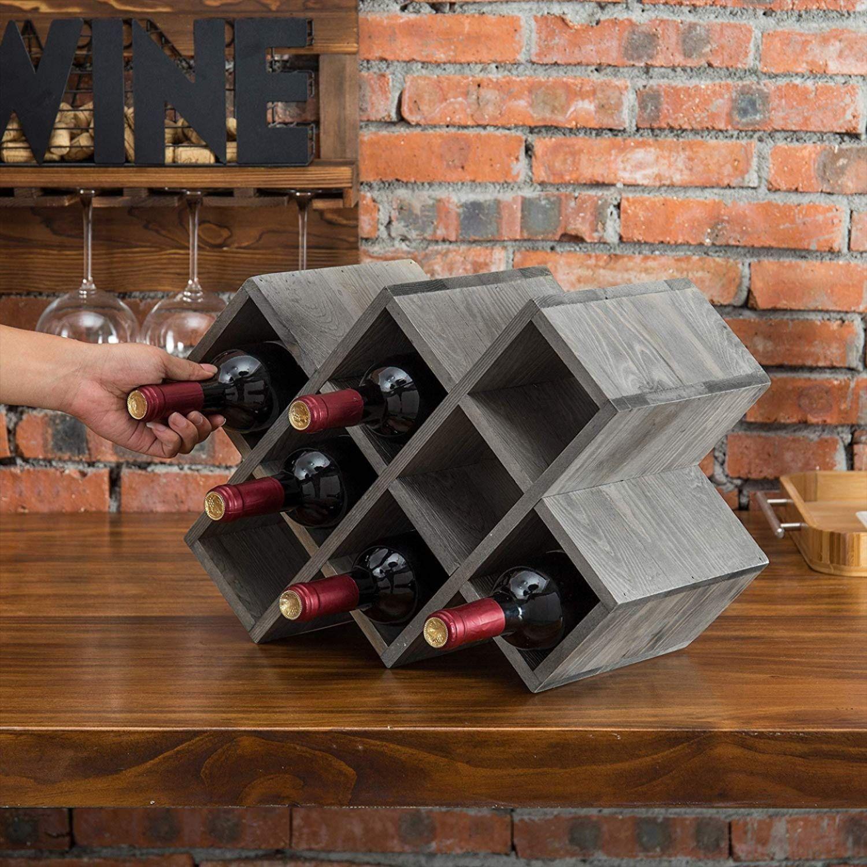 Vintage Gray Wood 8 Bottle Countertop Wine Rack In 2020 Wine