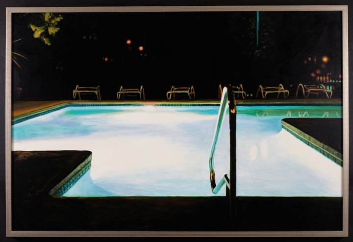 "Rachel Maxi - Pool (commissioned painting)  Oil on panel, 33"" x 50"" ,2011"
