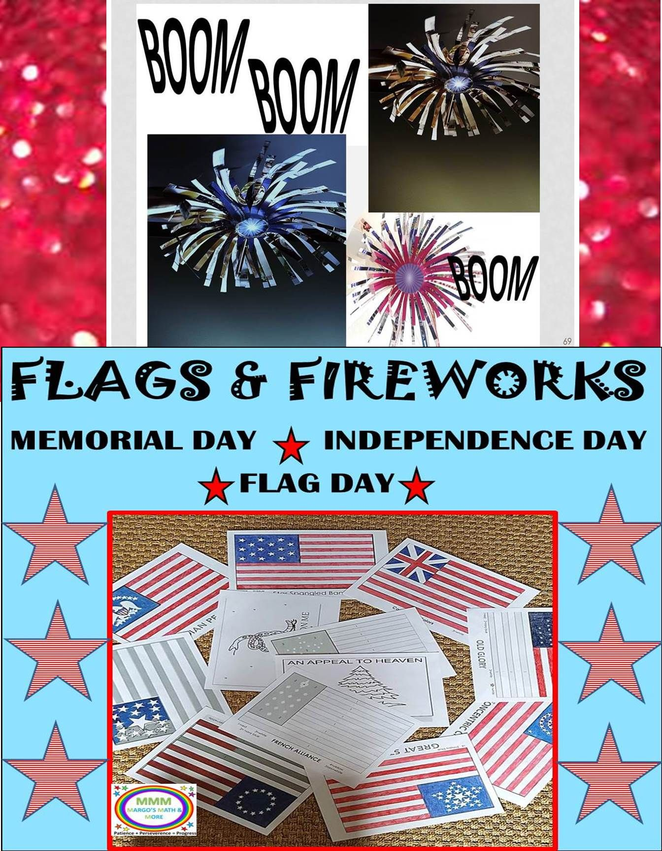 Distance Learning Flags And Fireworks Patriotic Days Flag