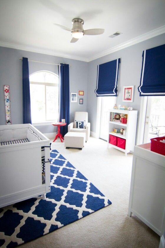 Gray Red White And Blue Nursery Grey Baby Room Blue Nursery