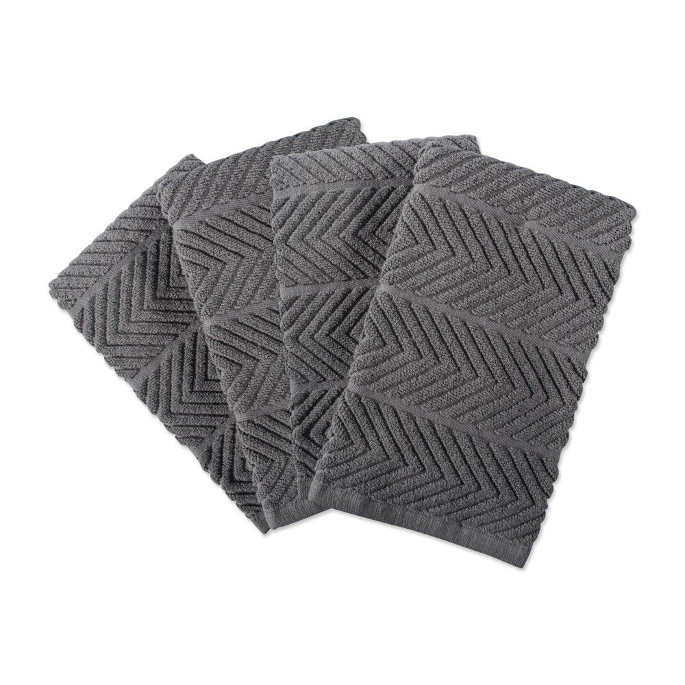 4pk Cotton Chevron Luxury Barmop Towels Gray - Design Imports