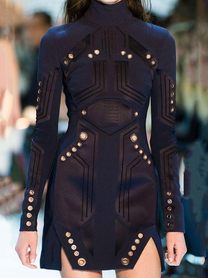 Photo of Long Sleeve Turtleneck Above Knee High Waist Casual Dress –   – #AoDai #Casual #…